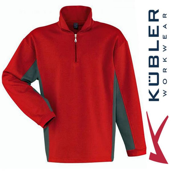 Langarm Poloshirt - zweifarbig- Kübler Workwear - rot/grau 5119