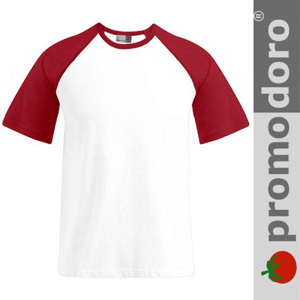 Mens Raglan T-Shirt - PROMODORO - weiss/ rot - E1060