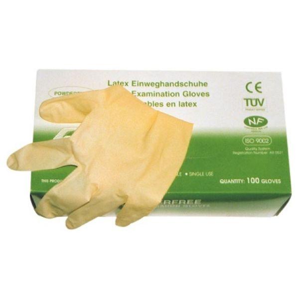Einweghandschuh aus Naturlatex, unsteril, ungepudert  Box à 100 Stück