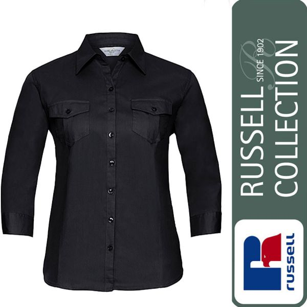 Ladies Roll 3/4 Sleeve Fitted Twill Shirt, Russel - Z918F