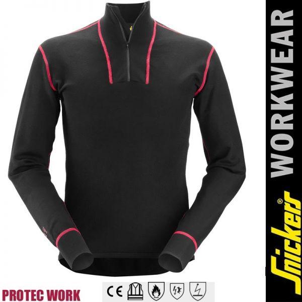 ProtecWork, Langarm-Wollhemd-Flammfest-mit Halbreissverschluss-SNICKERS Workwear-9462