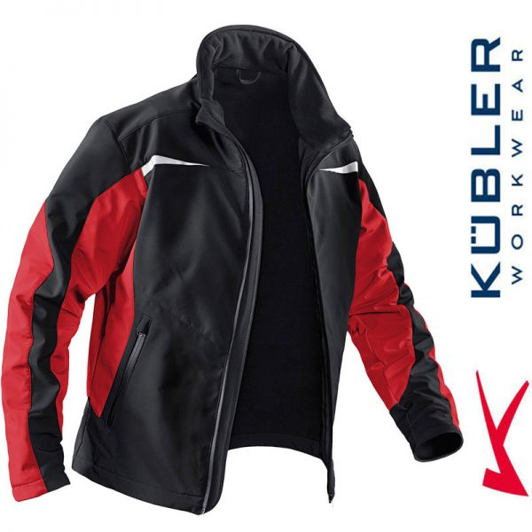 Softshelljacke - Kübler Workwear - 1241-9955 schwarz-mittelrot