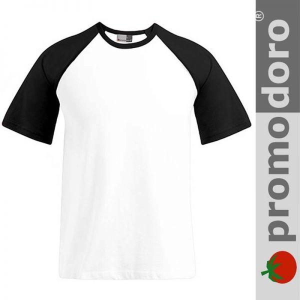 Mens Raglan T-Shirt - PROMODORO - weiss/ schwarz- E1060