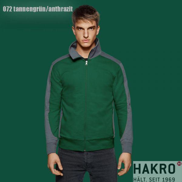 HAKRO, № 477 Sweatjacke, CONTRAST PERFORMANCE-tannengruen-anthrazit