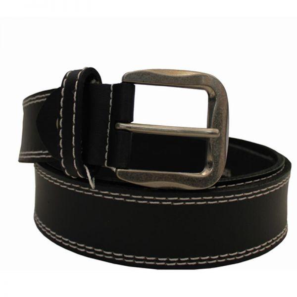 Rindsledergürtel Premium mit Schnalle, schwarz 125cm