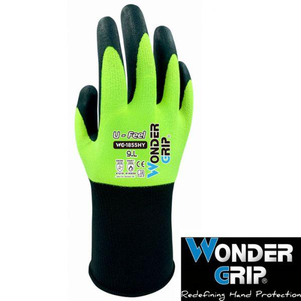 Wondergrip Schutzhandschuh - grau-gelb-WG-1855HY Wonder Grip U-Feel