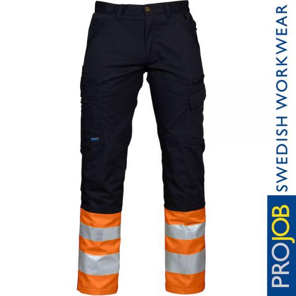 6523 ARBEITSHOSE EN ISO 20471 KLASSE 1 MODERNER SCHNITT-PRO JOB-orange-schwarz