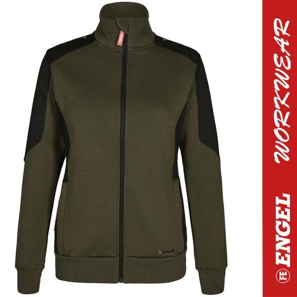 GALAXY Damen Sweatjacke - ENGEL Workwear - 8825-waldgruen-schwarz
