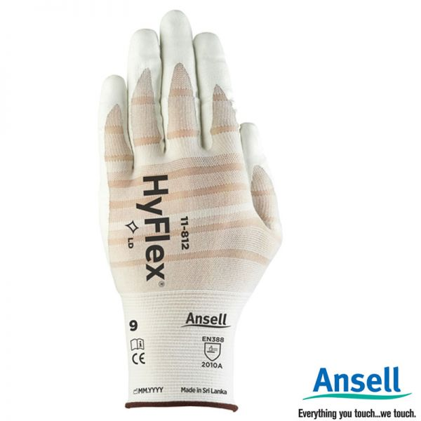 Ansell 11-812 HyFlex, weiss, Spezialhandschuh, 12229