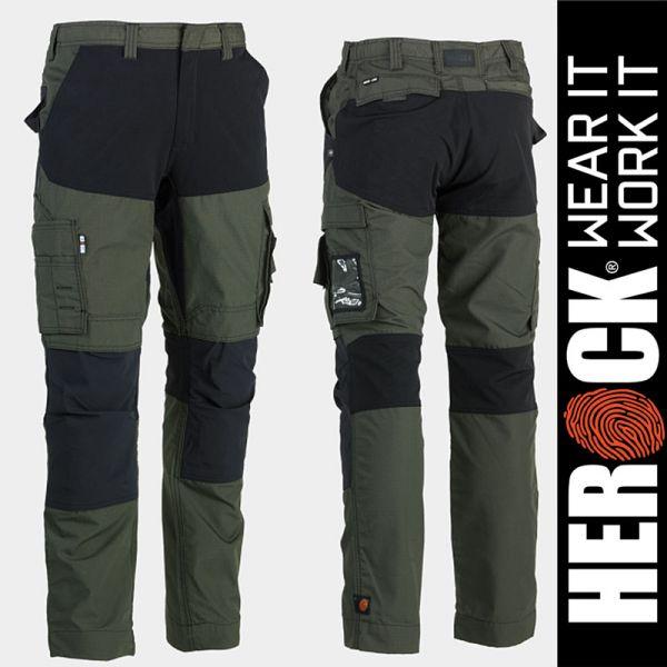 HECTOR Arbeitshosen-Dark Khaki-schwarz, HEROCK Workwear, 23MTR1803